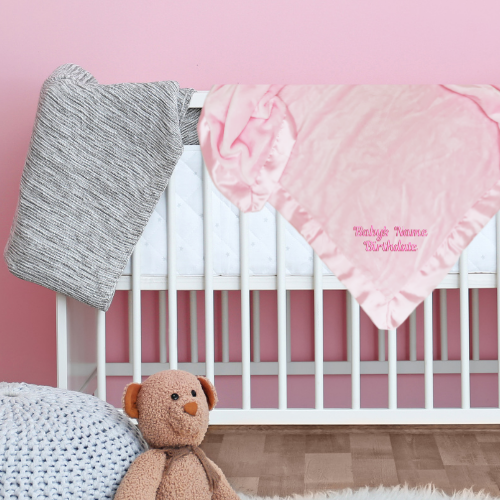 Personalized Satin Trim Microfleece Baby Blanket